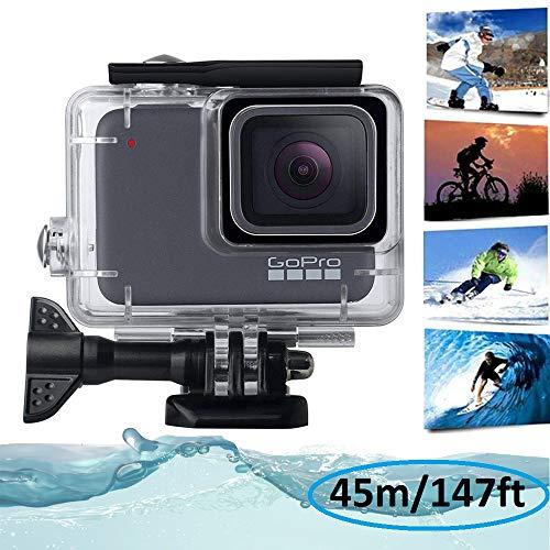 KOBWA boîtier étanche pour caméra GoPro Hero7Argenté/Blanc, plongée sous-Marine Coque en Acrylique Transparent Housse de Protection Session Caméra d'action Accessoires 44,8m