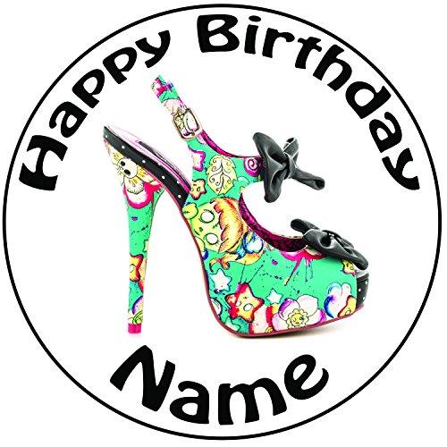 Personnalisé gothique Rose et Bleu Talon Haut Chaussures Décoration pour gâteau-Un Rond prédécoupés 20,3cm Décoration Glaçage (20cm)