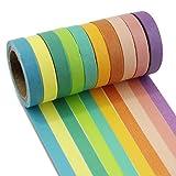 PsmGoods®, nastro adesivo washi decorativo, 10rotoli colorati, nastro adesivo coprente per fai da te