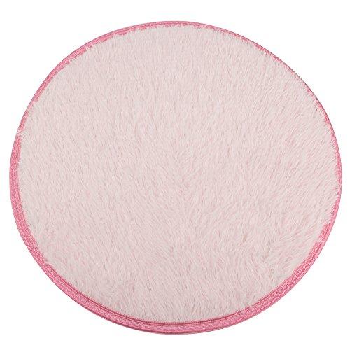 DODOING Rosa Modern Shag Bereich Teppiche Wohnzimmer Teppich Schlafzimmer Teppich für Kinder Spielen Solid Home Decorator Teppichboden, Durchmesser 39.4inch/100cm -