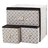 BOZEVON Aufbewahrungsboxen - 2 Tier Faltbare Speicherorganisatoren Multifunktions Schubladen Aufbewahrungsbox, Beige