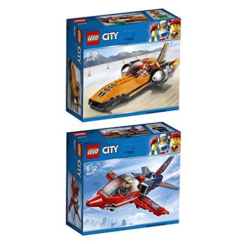Lego City 2er Set 60177 60178 Starke Fahrzeuge Düsenflieger + Starke Fahrzeuge Raketenauto (Lego City Jet)