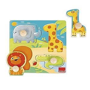 Goula - Puzzle con Animales de la Selva, Color Azul, Rojo y Amarillo (Diset 53004)