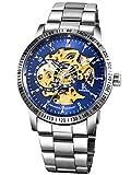 Alienwork IK Automatik Armbanduhr Herren Damen Uhr Edelstahl Armband Metallarmband Metallband silber Automatikuhr Herrenuhr Damenuhr blau