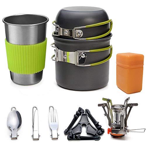 Draussen Picknick-Kochgeschirr-Set, 1-2 Personen Camping Wandern Backpacking Herd können Kombination tragbar Feld Geschirr