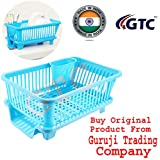 Gtc 3 In 1 Large Sink Set Dish Rack Drainer With Tray For Kitchen - Blue ( It N - 167-1 )
