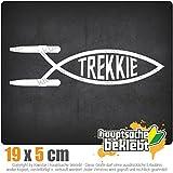 Trekkie Fisch 19 x 5 cm IN 15 FARBEN - Neon + Chrom! Sticker Aufkleber