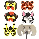 Pack of 6 Assorted Foam Children's Wild Animal Masks (máscara/ careta)