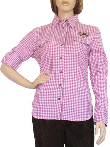 Trachtenbluse Damen Trachten lederhosen-bluse Trachtenmode violett kariert, Größe:44