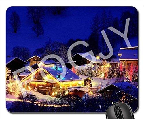 POGJY Gaming Mauspad 9.25 x 7.75 Inches, Mousepad, Verbessert Präzision und Geschwindigkeit, Gummiunterseite für Stabilen Halt auf Glatten Oberflächen, Rutschfest, Strapazierfähig Schwarz - Weihnachtsdorf Häuser image 275