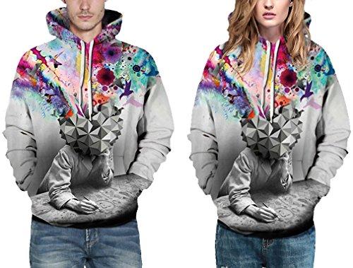 Bettydom Herren Unisex Casual mit 3D Aufdruck Fantasie Motiv Sweatshirt Kapuzenpullover Hoodies Langarm Top Streetwear Shirt Fantasie
