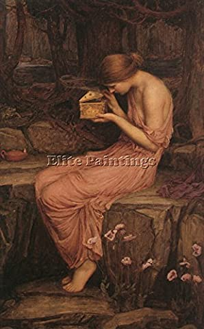 JOHN WILLIAM WATERHOUSE PSYCHE OPENING GOLDEN BOX ARTIST PAINTING OIL CANVAS ART 42x28inch HIGH QUALITY