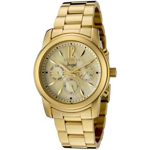 Invicta Angel Damen-Armbanduhr 38mm Armband Edelstahl Gold + Gehäuse Schmelz Flamme Schweizer Quarz 0466