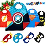 LAEGENDARY Costumi da Supereroi per Bambini - Regali di Natale - 4 Mantelli e Maschere - Logo di Capitan America Visibile al Buio – Giocattoli per Bambini e Bambine