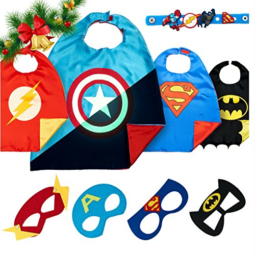 Ironman Cosplay Kostüm (LAEGENDARY Superhelden Kostüme für Kinder - 4 Capes und Masken - Kinderspielzeug für Weihnachte - Im Dunkeln Leuchtendes Captain America Logo - Spielsachen für Jungen - Karneval Fasching)
