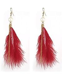 Plume pendentif pendentif poisson Crochets Boucles d'oreilles paire rouge doré