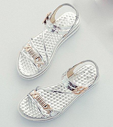 sandales d'été des femmes strass boucle sandales femmes chaussures en cuir verni étudiants confortables Silver
