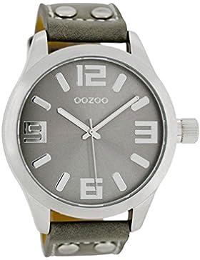 Oozoo Damenuhr mit Lederband 46 MM Silbergrau/Grau C1057