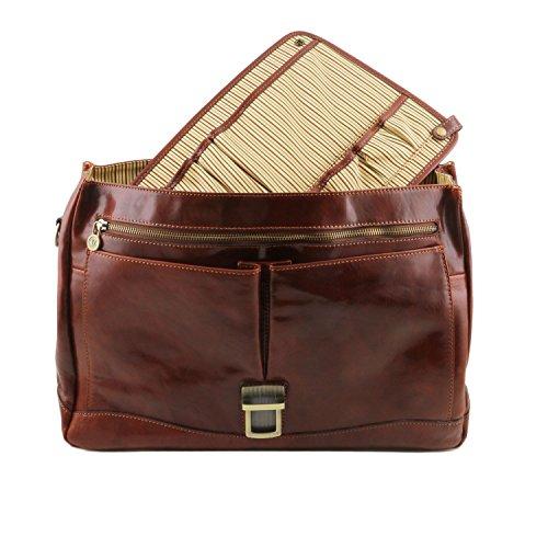 Tuscany Leather Mantova - TL SMART Multifach-Aktentasche aus Leder mit Klappe - TL141450 (Honig) Schwarz