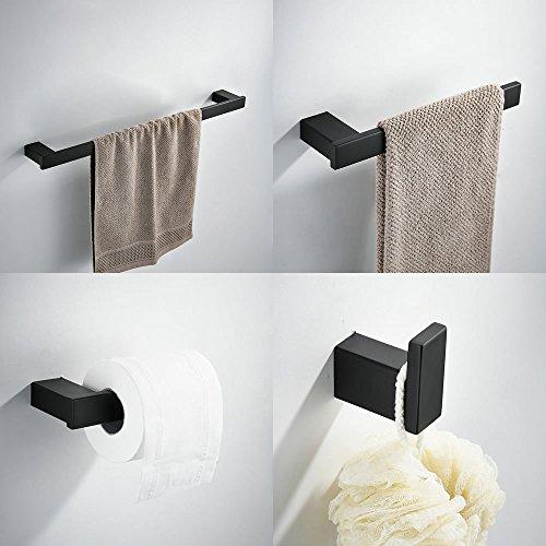 Kelelife Bad-Zubehör Set mit Handtuchhalter,Toilettenpapierhalter,Handtuchhaken,Handtuchring,4 in 1 Badaccessoire,Edelstahl,Matt-Schwarz