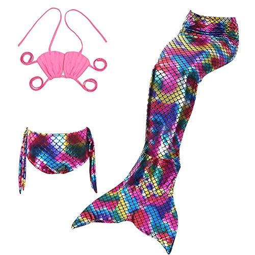 Lvbeis Mädchen Meerjungfrau Badeanzug Realistische Swimmable Tails Bikini KostÜM Cosplay Mermaid KostÜM Schwimmen,Pink,110cm