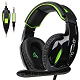 SUPSOO G813 3.5mm Stereo Gaming Headsets Over-Ear Headphones Bass Headsets with Mic for PS4 New Xbox one PC with Noise Reduction & Volume Control(Black&Green)