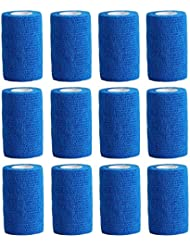 Cohesive Bandage - 12 Rolls x 10cm x 4.5m First Aid Sports Wrap Bandages,COBOX Pet Vet Wrap Self Adherent Cohesive Bandages