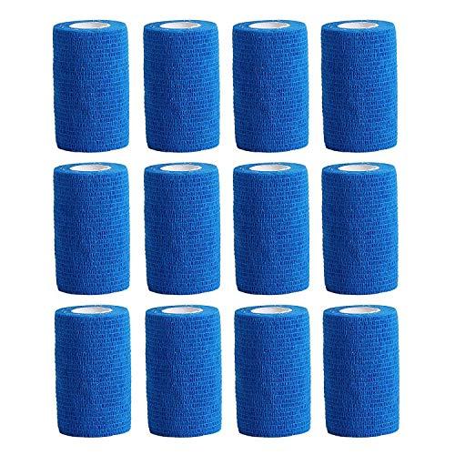12 rotoli sport tape primo soccorso bendaggio coesivo 10 cm x 4,5 m blu