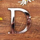 3D DIY Dekorative Buchstaben Alphabet Silber, Gspirit Kreative Acryl Spiegel Oberfläche Alphabet 26 Buchstaben Wandaufkleber Party Dekoration (D)