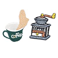 Souarts Coffee Machine Coffee Patch Cartoon Brooch Pin Badges Set for Clothes Bag Backpack Jackets