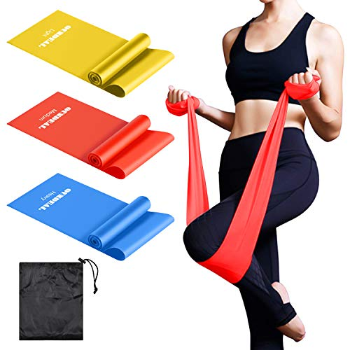 oundeal bande elastiche fitness, set di 3 banda elastica fasce resistenza, fascia elastica esercizi, ideale per terapia fisica, yoga, pilates, riabilitazione, allenamento a casa