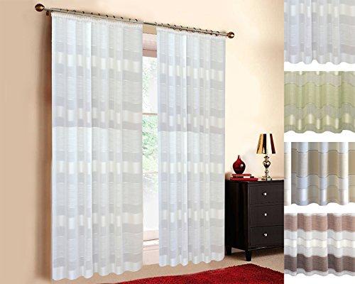 Maßgeschneiderte Streifen- Deko Gardine 'Natura', Vorhang nach Maß, Gardine nach Maß, Kräuselband, Maßanfertigung von 70cm bis 330cm Höhe, Weiß (80cm)