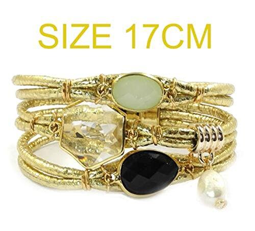 Ty-BLACK1 Bracelets ty-black1Fashion bracciale in pelle, pietra, cristallo di Boemia bracciali & Banglesjewelry e NA, colore: Gold 17cm, cod. SB-122