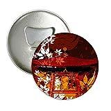Japan japanische Style Blätter Pavillon rund Flaschenöffner Kühlschrank Magnet Pins Badge Button Geschenk 3