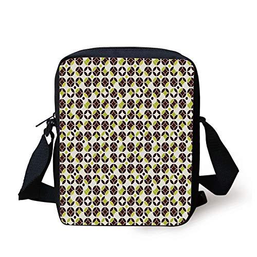 Geometric,Vintage Toned Abstract Circles Ornamental Classic Pattern,Apple Green Chestnut Brown Cream Print Kids Crossbody Messenger Bag Purse -