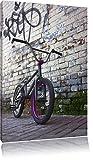 Fahrrad vor Graffitiwand BMX Streetart Format: 80x60 cm auf Leinwand, XXL riesige Bilder fertig gerahmt mit Keilrahmen, Kunstdruck auf Wandbild mit Rahmen, günstiger als Gemälde oder Ölbild, kein Poster oder Plakat