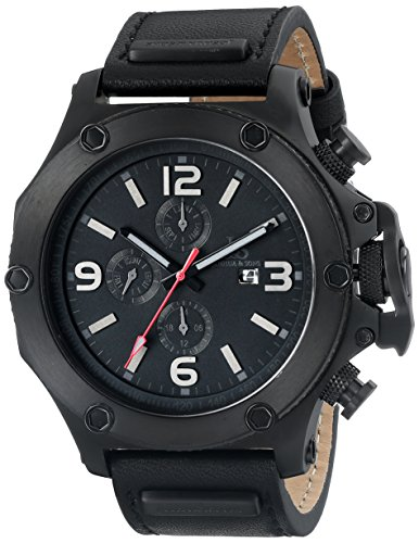 Joshua & Sons Men's JS75BK Black Swiss Quartz Watch With Black Dial and Black Leather Strap