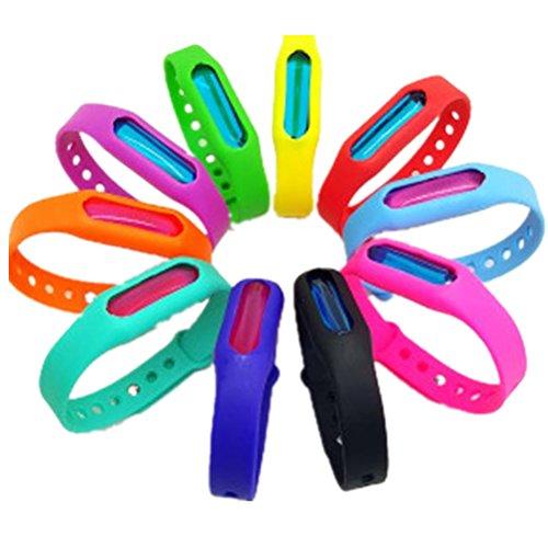 Er cuinsectes 10natürlich nicht giftig Mückenschutz Armbänder natur gegen & Insekten Bands, individually-wrapped Armbänder, verstellbare Bänder für Kinder & Erwachsene Farbe zufällige