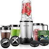 Standmixer Aicook Smoothie maker für Smoothies und Milchshakes, Früchte und Shakes, 4 BPA-freie Tritan Trinkflasche (900W, mit 21.000 U/min, 15-teiliges Set Mixer)