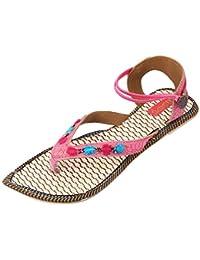 Footrendz Women's Embroided Jute Flat Sandals