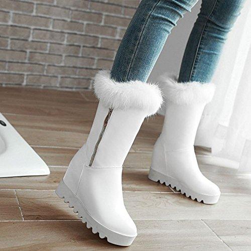 Zanpa Femmes Chaussures Plateforme Compenses Hiver Bottes white