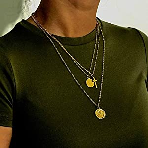 XUHAHAXL Halskette/Retro-Minimalistischen Multi-Layer-Halskette, Weibliches Kreuz, Pailletten, Accessoires
