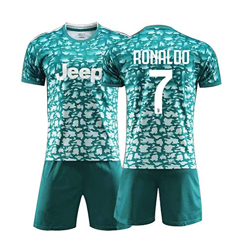 7# Ronaldo Fußball Jersey Anzug Für Kinder-Swingman Athlete's Jersey Herrenhemden + Herren Shorts Weiß Anzug Mesh Schnelltrocknend Kurzarm Fans Sweatshirt, Kinder Geschenk-Lightgreen-140