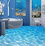 Yirenfeng Benutzerdefinierte Fototapete Strand Meerwasser Wohnzimmer 3D-Bodenbelag Wandmalereien Pvc Selbstklebende Tapete Wohnkultur250X160CM