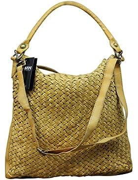 Made in Italy Damen Schultertasche Beuteltasche Bag Shopper Leder Vintage Geflochten
