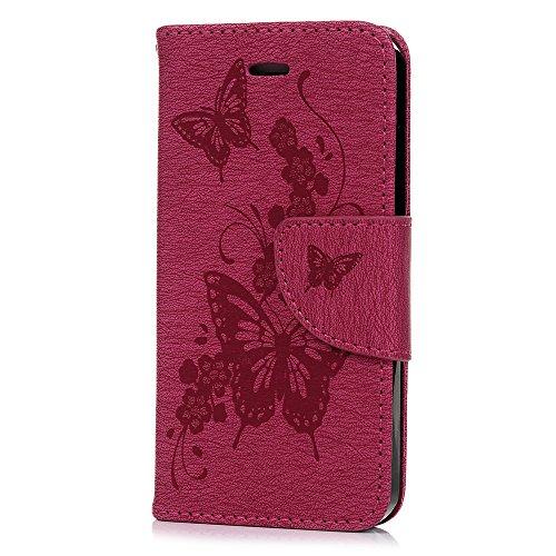 Cover per iPhone 5s Pelle, KASOS Custodia per Cover iPhone 5s / SE / 5 Flip Case Pelle PU Cuoio Morbida Libro Portafoglio Wallet Rosa Rossa