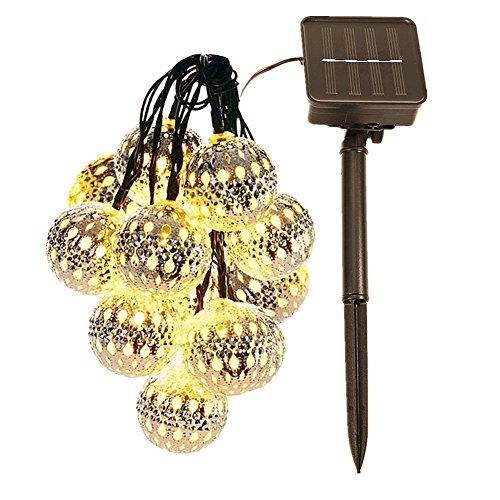 Solarbetriebene Lichterketten Globe Outdoor 20 LEDs Maroq Lantern Garten String Lichter Warmweiß Wasserdicht IP65 Hof Zaun Dekorative Lichterketten für Valentinstag Hochzeit Pergola