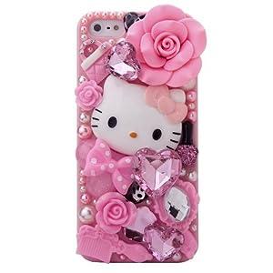 3d bling luxury design rhinestone pink hello kitty diamond iphone case cover skin for apple - Hello kitty fernseher ...