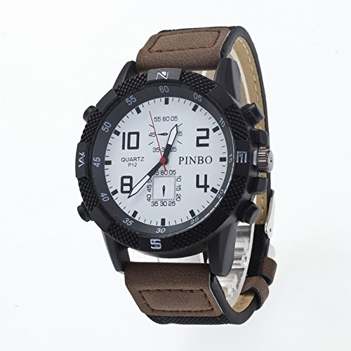 Ruanyi 3-Pack-Etui runder Zifferblatt Lederband Canvas Watch ( Colour : White and dark coffee ) (Coffee Dark Canvas)