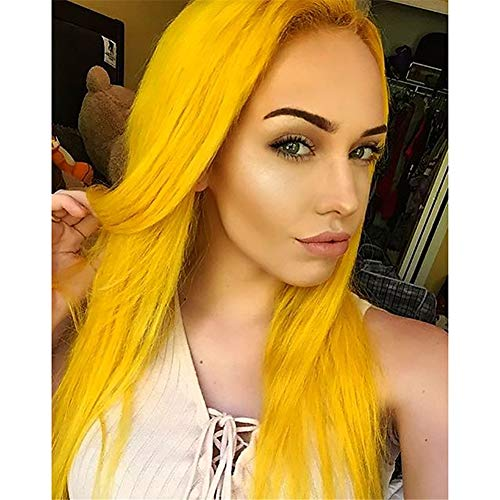 AYWIGS Lace Front Gelb Perücken Lange Direkt Golden Haarschnitt Synthetik Haar Hitze Beständig Perücke zum Frau Mädchen Cosplay Kostüm Tragen 24
